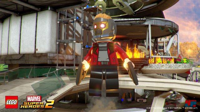Star-Lord übernimmt auch in Lego-Form das Kommando und nutzt u.a. seine Schubdüsen, Gravitations-Granaten und selbstverständlich auch den Walkman.