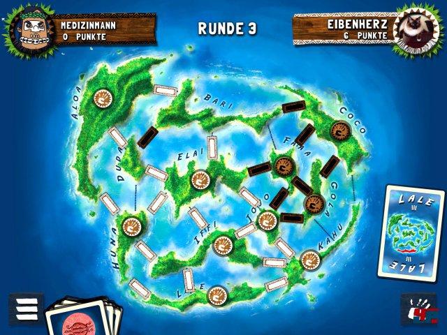 Der weiße Spieler dominiert die Karibik: Einen Stein darf man dann auf eine Insel setzen, wenn man die meisten ihrer Wasserwege kontrolliert.