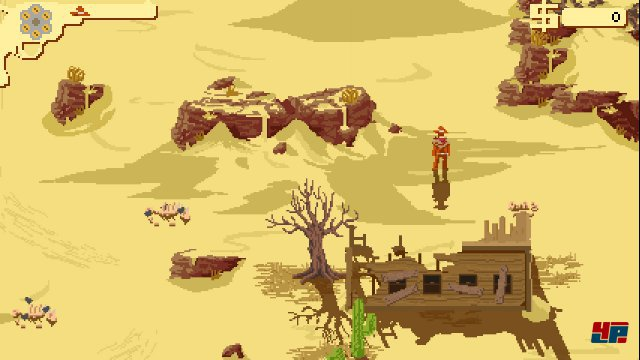 Die Pixelkulisse zeichnet eine stimmungsvolle Western-Welt.