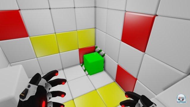 Das Spielziel: Verschiedenfarbige Würfel müssen manipuliert werden, um weiter zu kommen.