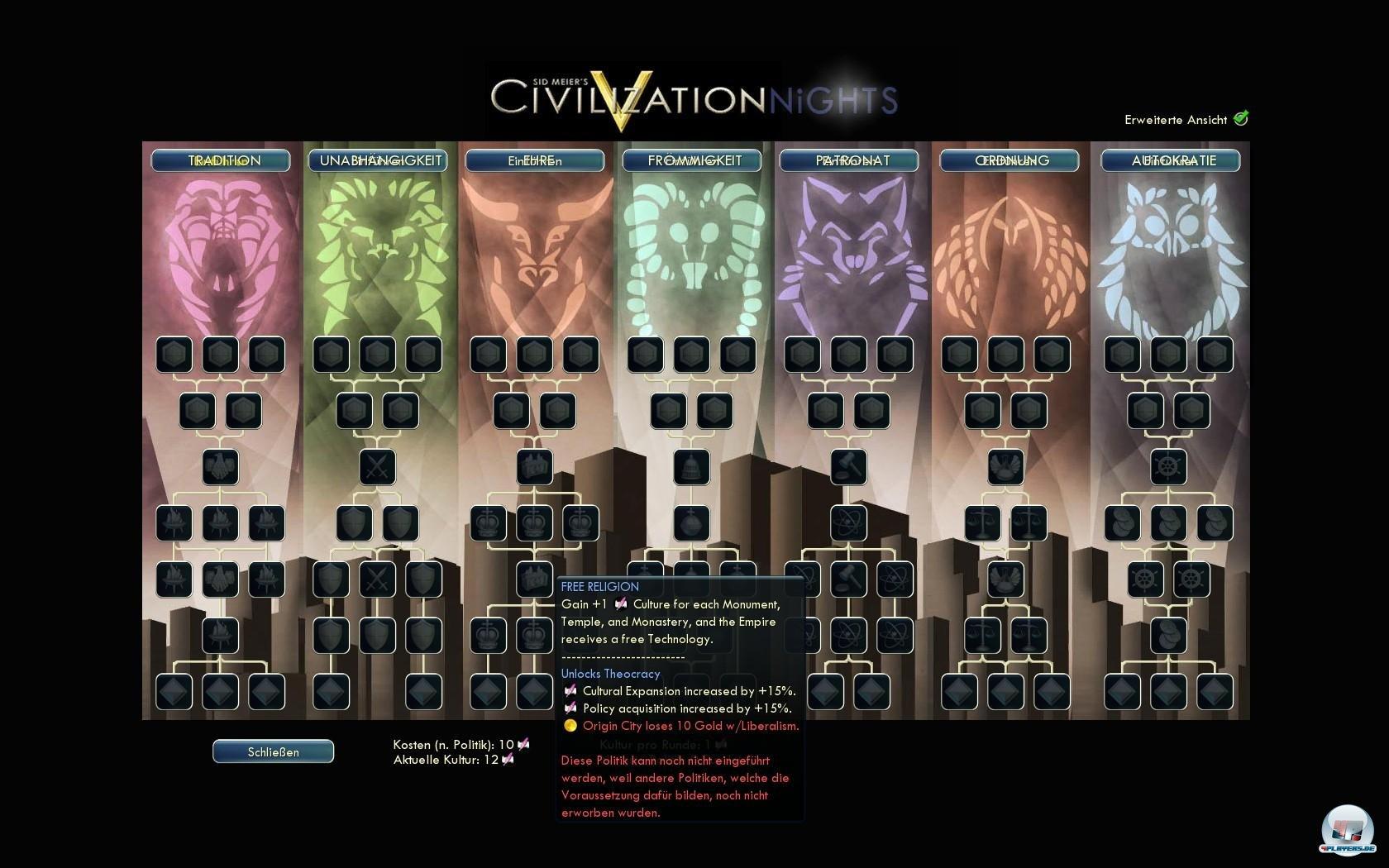 Anzahl und Effekte der Politiken wurden bei Civilization NiGHTS deutlich ausgebaut.