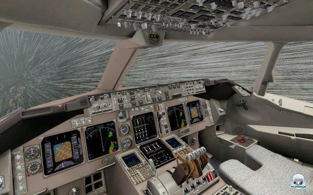 Das voll funktionstüchtige 3D-Cockpit der Boeing 747-400. Jeder Schalter bewirkt das was er in der Realität auslöst.