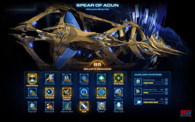 """Zwischen den Missionen kann die """"Speer des Adun"""" verbessert werden."""