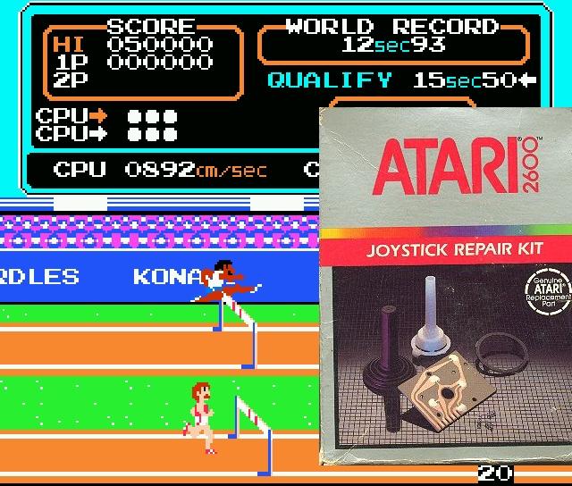 ...aber in erster Linie waren sie dafür berüchtigt, üble Joystickkiller zu sein: Decathlon und Track&Field setzten auf eine »Wackele den Stick im Weltrekord-Tempo!«-Steuerung, welche die fragilen Controller reihenweise in den Tod knacksten. Für den ollen Atari VCS 2600 gab es sogar ein Reparaturkit, mit dem man die gebrochenen Achsen des Sticks eigenhändig ersetzen konnte. Das schulte nicht nur die Hand-Auge-Koordination, sondern war auch geringfügig günstiger als ein Ersatzmodell. 1980363